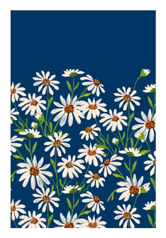 PosterGully Specials, Daisy Flowers On Blue Background Floral Wall Art | Artist : Seema Hooda | PosterGully Specials, - PosterGully
