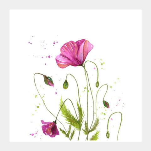 Watercolor Pink Poppy Flower Painting Botanical Square Art Prints | Artist : Seema Hooda