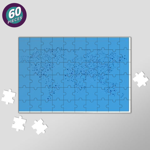 Blue Connected World Map Jigsaw Puzzles | Artist : Inderpreet Singh