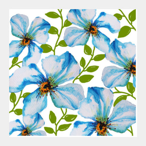 Blue Summer Blooms Floral Design Square Art Prints PosterGully Specials