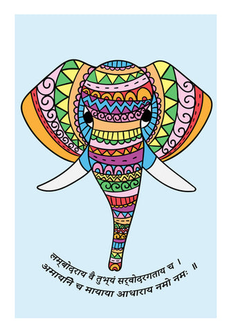 Sri Ganesha Colorful Illustration Wall Art | Artist : Creative DJ