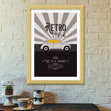 Retro vintage car on gray Premium Italian Wooden Frames | Artist : Designerchennai