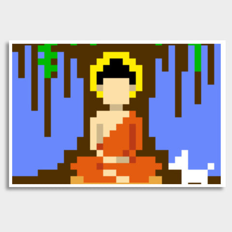 Buddha under a tree pixel Giant Poster | Artist : 8bitbaba