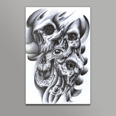 skull inside out abstract modern art Metal Prints | Artist : akash biyani
