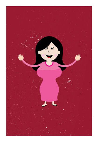 PosterGully Specials, Big body girl happy smiling Wall Art | Artist : Designerchennai, - PosterGully