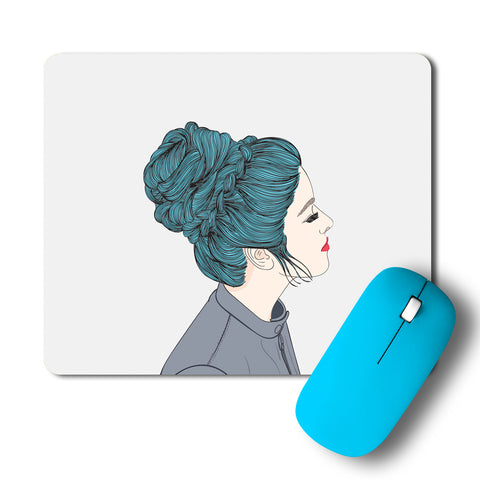 Calm Composed Girl In Deep Thoughts Artwork Mousepad