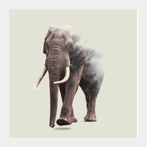 Elephantastic Square Art Prints | Artist : Uma Gokhale