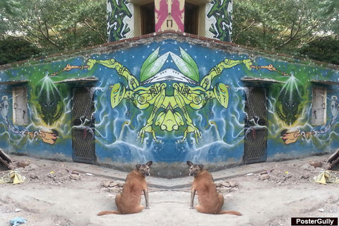 Wall Art, Double Dog Graffiti  Artwork | Artist: Pankaj Mullick, - PosterGully - 1