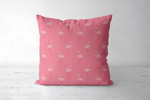 Pink - Dots with Flamingo  Cushion Covers | Artist : Amantrika Saraogi