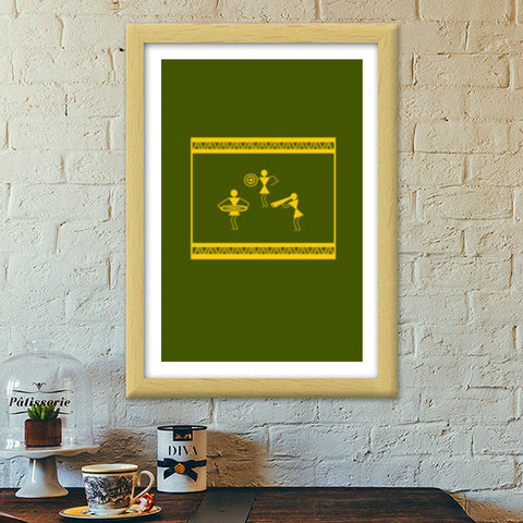 lively green and yellow warli design Premium Italian Wooden Frames | Artist : Niharika Shenoy