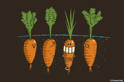 Brand New Designs, Carrots - Dark Grey | By Captain Kyso, - PosterGully - 1