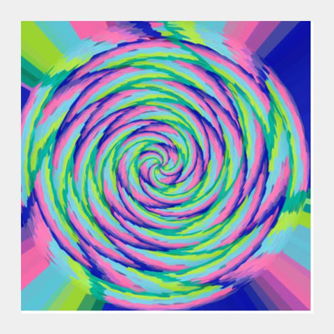 Rainbow Swirl Abstract Psychedelic Digital Wall Art Square Art Prints PosterGully Specials