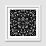 Black And White Abstract Digital Illustration Psychedelic Decorative Wall Art Print Premium Square Italian Wooden Frames | Artist : Seema Hooda
