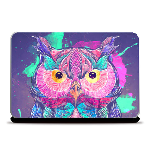 The night owl watercolor digital Laptop Skins | Artist : Cuboidesign