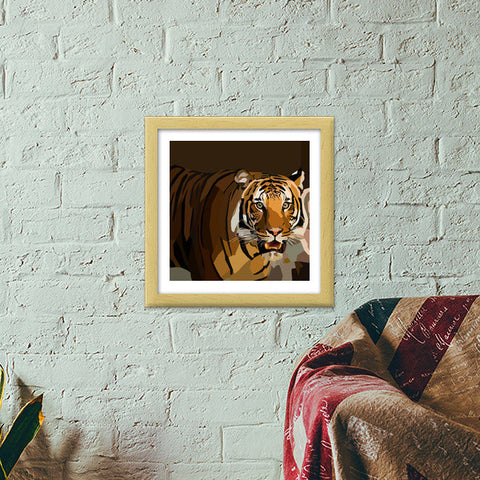 Eye of the tiger, Low Poly Premium Square Italian Wooden Frames | Artist : Pallavi Bhargava