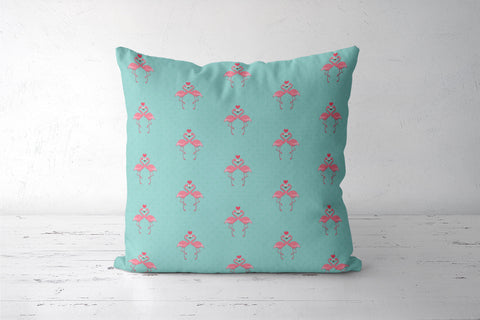 Blue - Dots with Flamingo  Cushion Covers | Artist : Amantrika Saraogi