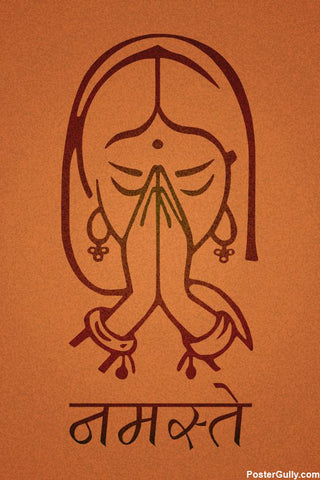 Wall Art, Indian Namaste Artwork | Artist: Abhishek Kanungo, - PosterGully - 1
