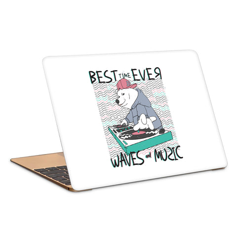 Cool Bear Music Waves Artwork Laptop Skin