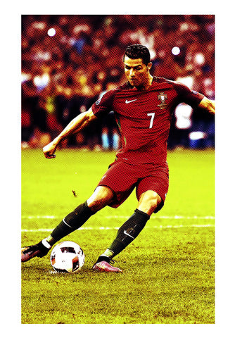 Cristiano Ronaldo Kicking The Ball | #Footballfan Wall Art | Artist : Creative DJ
