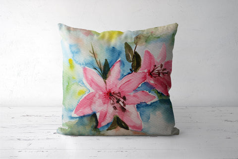 Pink Lily Watercolor Floral Design Cushion Cover l Artist: Seema Hooda