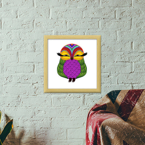 Baby Zoe the adorable baby owl Premium Square Italian Wooden Frames | Artist : Animal kingdom