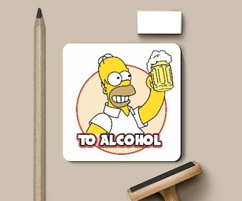 Coasters, To alcohol Simpson Coaster | Artist: Vaibhav Goyal, - PosterGully