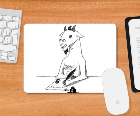 Mousepad, Goat author pen and ink Mousepad | Artist : Shubhraneel Ghosh, - PosterGully