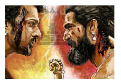 PosterGully Specials, Baahubali Rage Wall Art  | Artist : Draw On Demand, - PosterGully