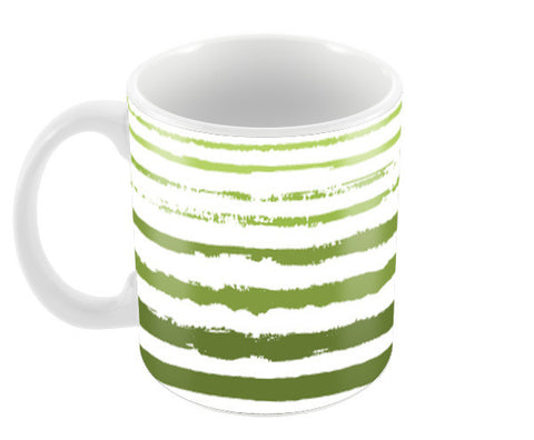 Uneven Green Stripes Coffee Mugs | Artist : Amantrika Saraogi