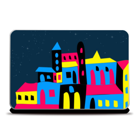 Colorful House Laptop Skins | Artist : Nisha Prabhu