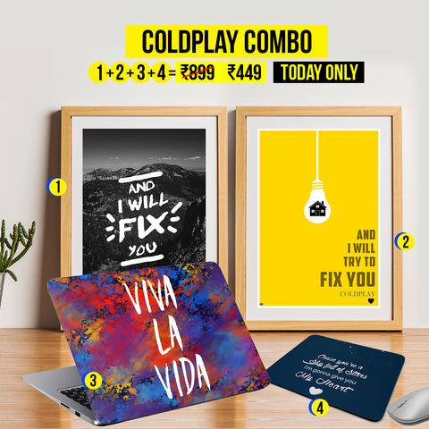 Clearance Carnival Sale - Coldplay Combo: 2 Posters + 1 Laptop Skin + 1 Mousepad