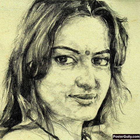 Square Art Prints, Sonakshi Sinha Artwork | Artist: Pushkar Priyadarshi, - PosterGully