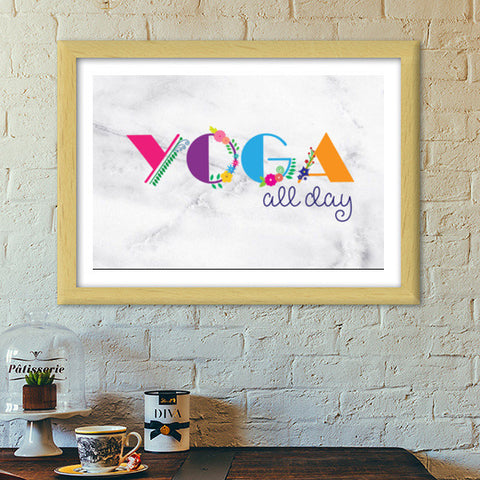 Yoga all day !! Premium Italian Wooden Frames | Artist : Dolly P