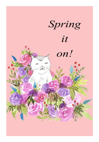 Cute Cat Sketch Floral Artwork Spring Illustration Nursery Print Art PosterGully Specials