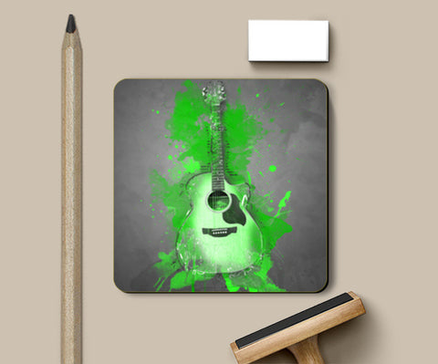 Guitar Splash – Green Coasters | Artist : Darshan Gajara's Artwork