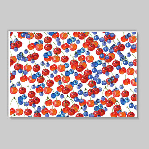 Red Cherries And Blue Berries Fruit Pattern Stick Ons | Artist : Seema Hooda