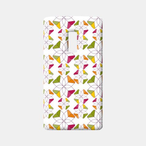Flowers Retro Shapes Geometric Pattern On Multicolor One Plus Two Cases | Artist : Designerchennai