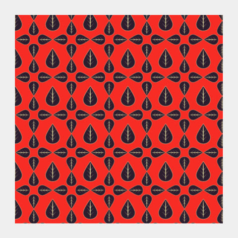 Seamless pattern with leaves on red background Square Art Prints | Artist : Designerchennai