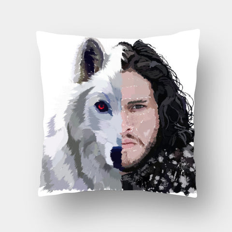 Cushion Covers, Jon Snow and Ghost - Game of Thrones Cushion Cover | Artist: Armaan Sandhu, - PosterGully