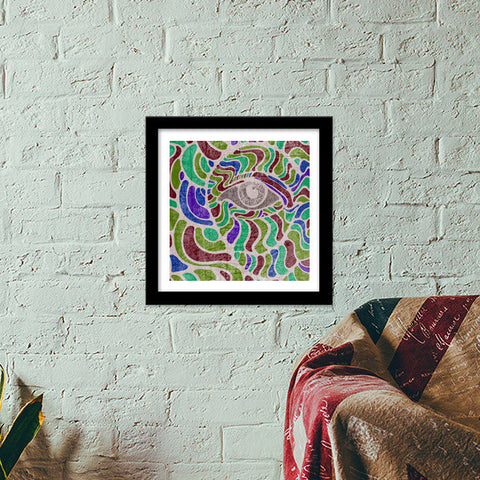 abstract eye colorful vector illustration Premium Square Italian Wooden Frames | Artist : Simran Sain