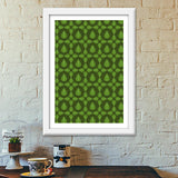 Seamless pattern with leaves on green background Premium Italian Wooden Frames | Artist : Designerchennai