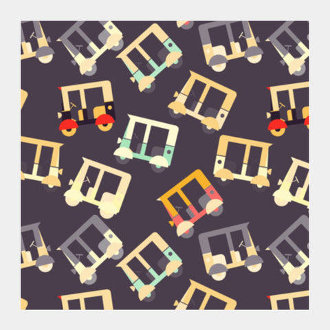Auto Rickshaw Quirky Pattern Square Art Prints PosterGully Specials