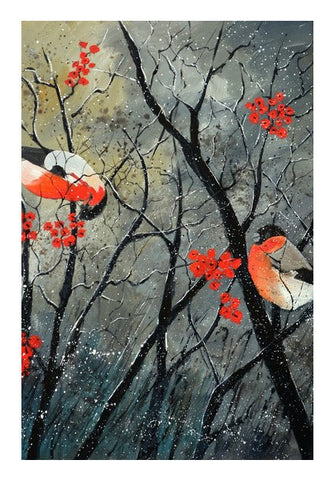 Wall Art, Two birds in winter Wall Art | Artist : pol ledent, - PosterGully