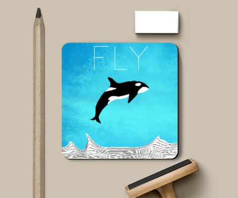 Coasters, Fly Away Dear Whale Coaster | Artist: Parikshit Deshmukh, - PosterGully