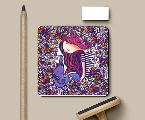 girl and her dog Coasters | Artist : abhijeet sinha