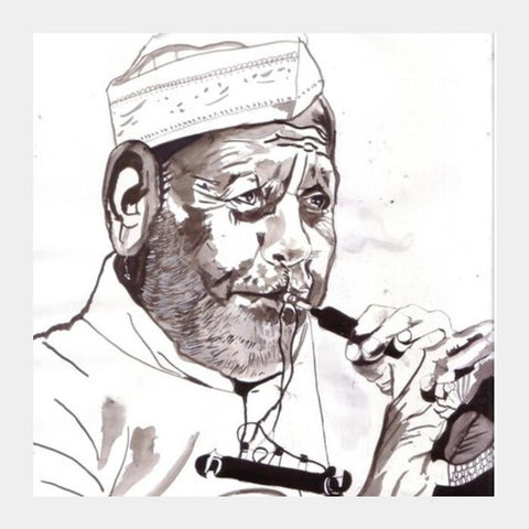 PosterGully Specials, Music defined what Ustad Bismillah Khan stood for Square Art Prints | Artist : HeartAtArt, - PosterGully