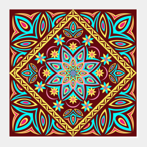 Square Art Prints, Colourful Mandala Square Art Prints | Artist : Madhumita Mukherjee, - PosterGully