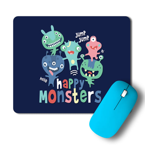 Happy Crazy Monsters Artwork Mousepad