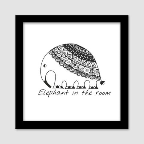 Elephant in the room Premium Square Italian Wooden Frames | Artist : the unskilled artist