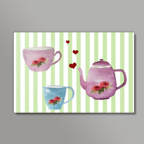 Cute Teapot and Teacups Design Metal Prints | Artist : Seema Hooda